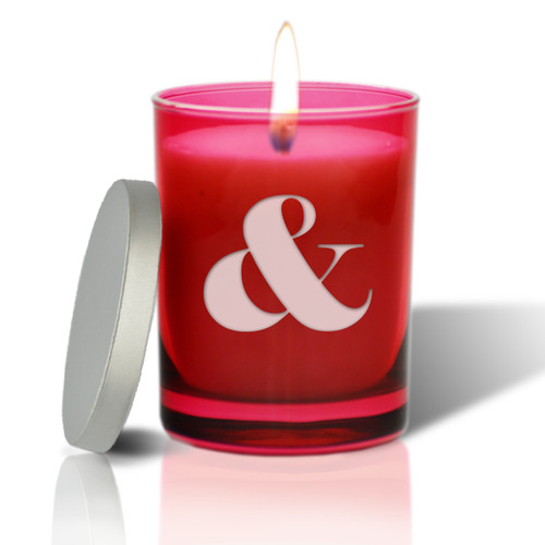 Ruby Soy Glass Candle - Large Ampersand Sign