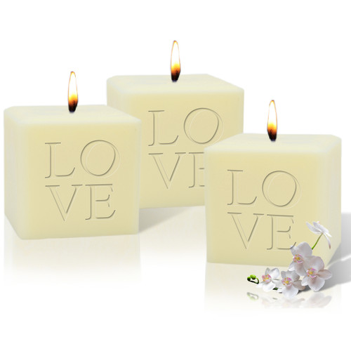 """4"""" Soy Pillar Candle - Love (Set Of 3)"""