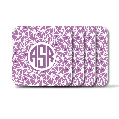 Personalized Square Coasters, Set of 4 - Lavender Circle Monogram