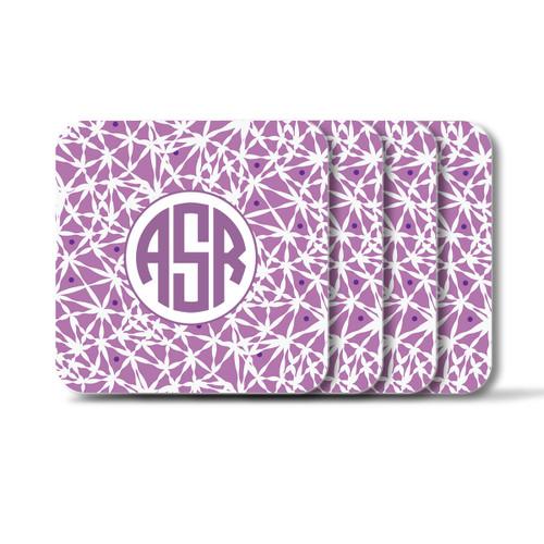 Personalized Square Coasters, Set of 4 - Lavender Circle Monogram