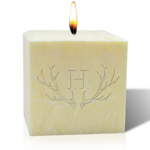 "4"" Pure Aromatherapy Palm Wax Candle - Antler with Single Initial"