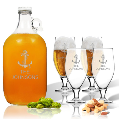 5 Piece Set: Growler  64 oz.  & Cervoise Glass  16.75 oz. (Set of 4) Personalized Anchor Theme