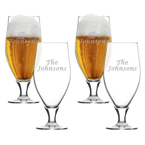 SET of 4 16oz CERVOISE GLASSES -PERSONALIZED