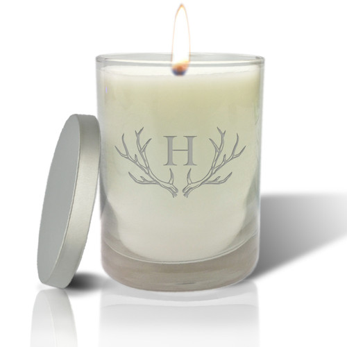 Soy Glass Candle - Antler with Single Initial