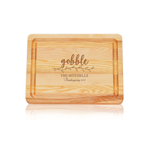 """Small Master Cutting Board 10"""" X 7.5"""" - Gobble With Name, Thanksgiving & Year"""