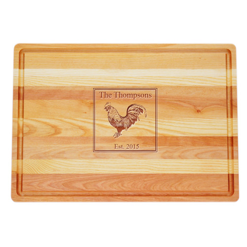 "Large Master Cutting Board 20"" X 14.5"" - Personalized Rooster"