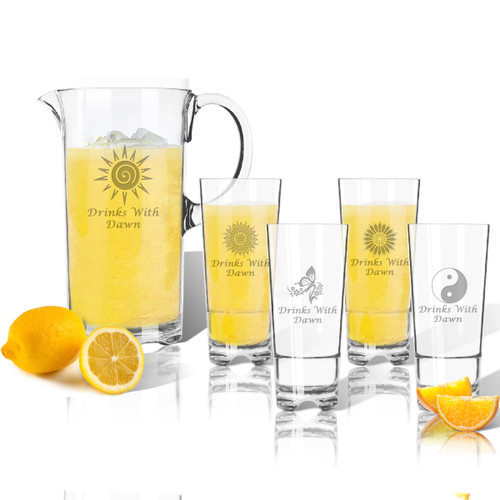 Entertaining Set: Tritan Pitcher and High Ball Glasses 16 oz (Set of 4): Solstice  with Name