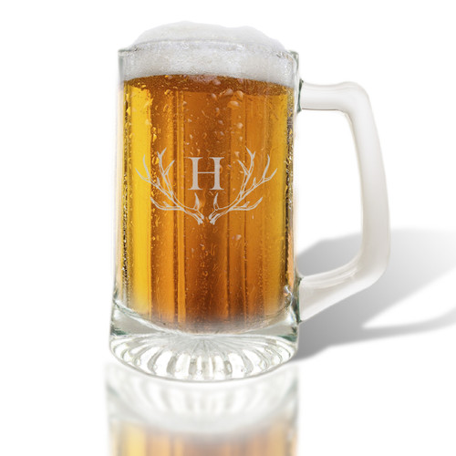 PERSONALIZED ANTLER MOTIF SPORTS MUG (Glass)