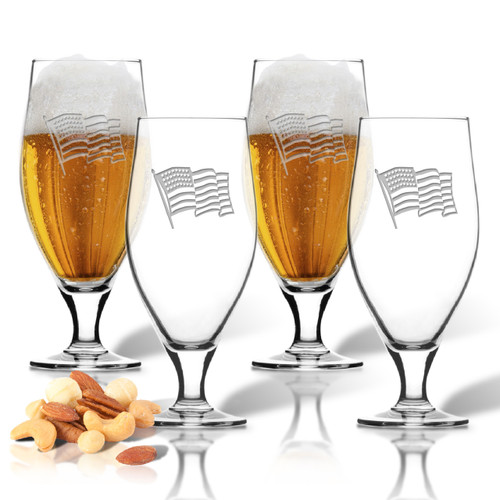 Waving American Flag Set of 4  Cervoise Glasses 16 oz