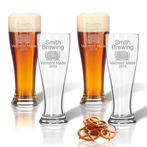 PERSONALIZED PILSNER GLASS: SET OF 4- HOME BREW ARIAL