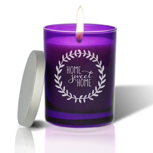 Amethyst Soy Glass Candle - Home Sweet Home with Wreath
