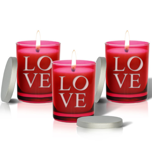 Ruby Soy Glass Candle - Love (Set of 3)