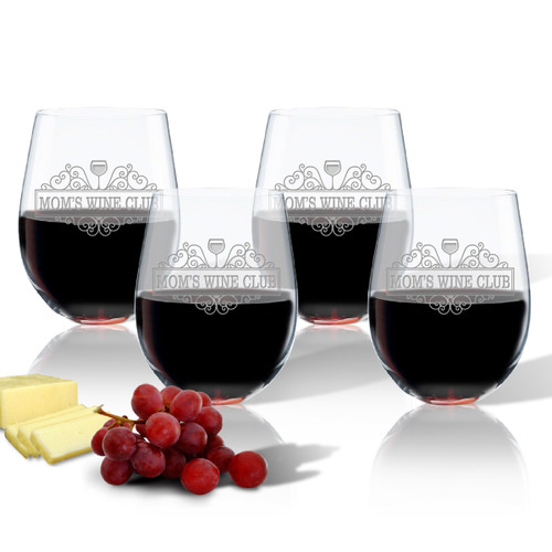 SET OF 4 WINE TUMBLERS - (GLASS) - MOM'S WINE CLUB