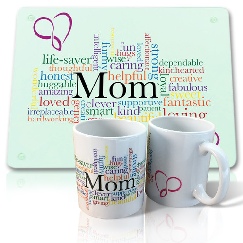Mom Mug and Glass Cutting Board