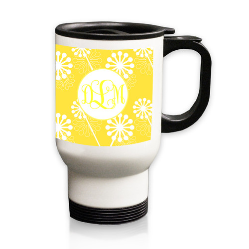 Personalized White Stainless Steel Travel Mug - 14 oz.Asian Elements - VerbenaVine Monogram