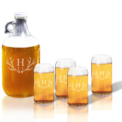 64oz GROWLER and BEER CAN GLASS SET OF 4 GLASSES: PERSONALIZED ANTLER MOTIF