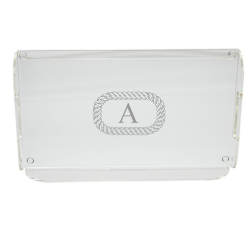 Personalized Acrylic Serving Tray - Rope with Initial