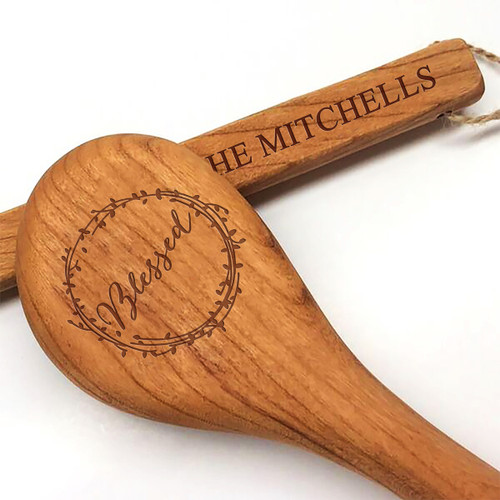 "15"" Cherry Wooden Spoon - Blessed Motif with Personalization"