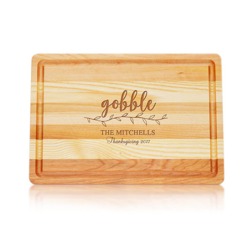 """Medium Master Cutting Boards 14.5"""" X 10"""" - Gobble With Name, Thanksgiving & Year"""