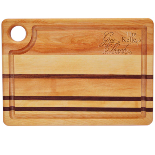 "Integrity Steak Carving Board 14"" X 10"" - Personalized Give Thanks and Eat"