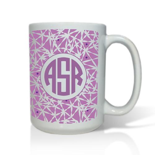 Personalized White Mug  15 oz.Asian Elements - LavenderCircle Monogram