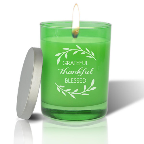 Emerald Soy Glass Candle - Grateful Thankful Blessed