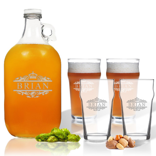5 Piece Set: Growler  64 oz.  & Pub Glass  16 oz. (Set of 4) Personalized Scotts Design
