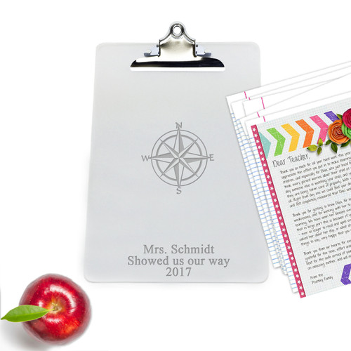 "Personalized Acrylic 10"" x 14"" Clipboard : COMPASS ROSE"
