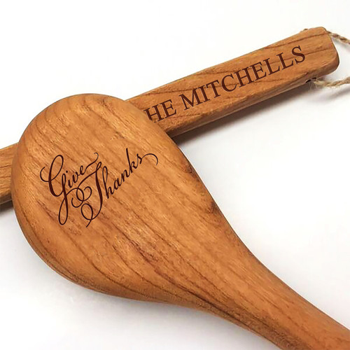 """15"""" Cherry Wooden Spoon - Give Thanks Motif with Personalization"""