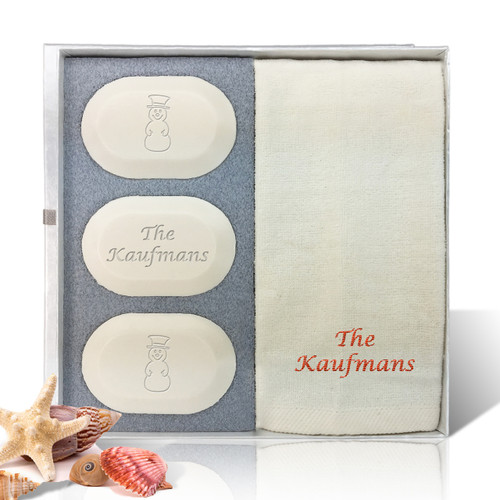 Eco-Luxury Gift Set - Christmas Snowmen Personalized! (3 Bars 1 Towel)