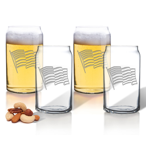 Waving American Flag Set of 4 Beer Can glasses 16oz