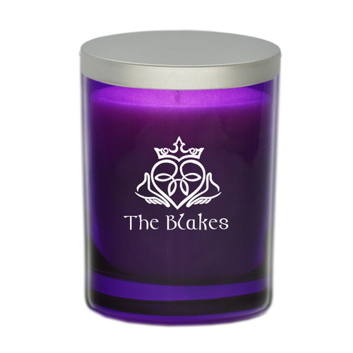 Amethyst Soy Glass Candle - Claddagh and Celtic Name