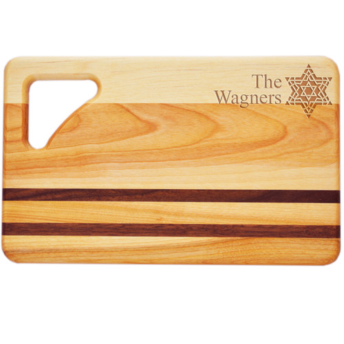 "Small Integrity Cutting Board 10"" X 6"" - Personalized Fancy Star Of David"
