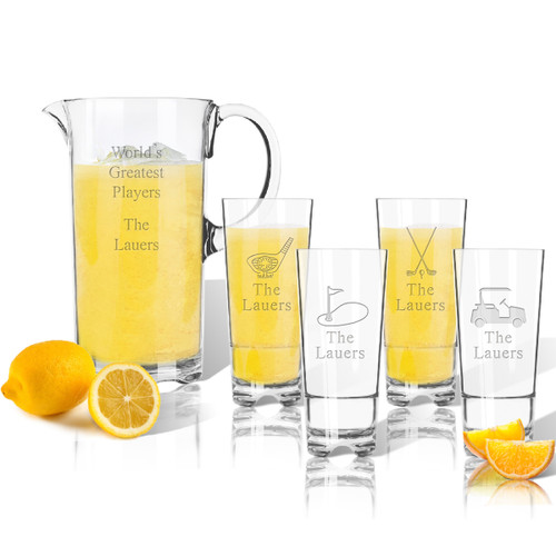 Entertaining Set: Tritan Pitcher and High Ball Glasses 16 oz (Set of 4): Golf with names