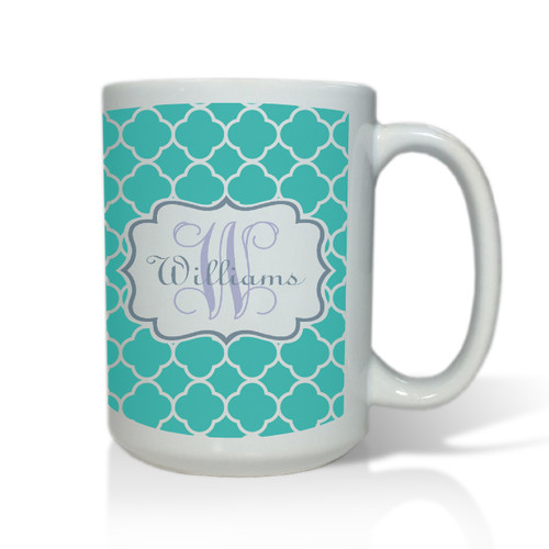 Personalized White Mug  15 oz.Moroccan Vine Initial and Name
