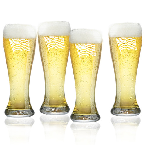 Waving American Flag Set of 4  Pilsner Glasses 16oz