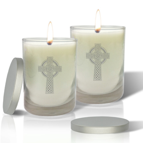 Soy Glass Candle - Celtic Cross (Set of 2)
