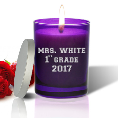 Amethyst Soy Glass Candle - Personalized for Teacher