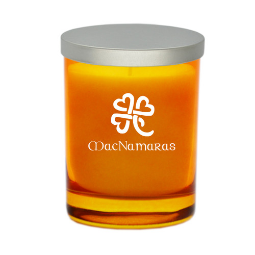 Topaz Soy Glass Candle - Heart Clover with Celtic Name