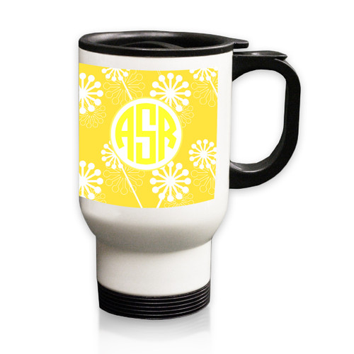 Personalized White Stainless Steel Travel Mug - 14 oz.Asian Elements - VerbenaCircle Monogram