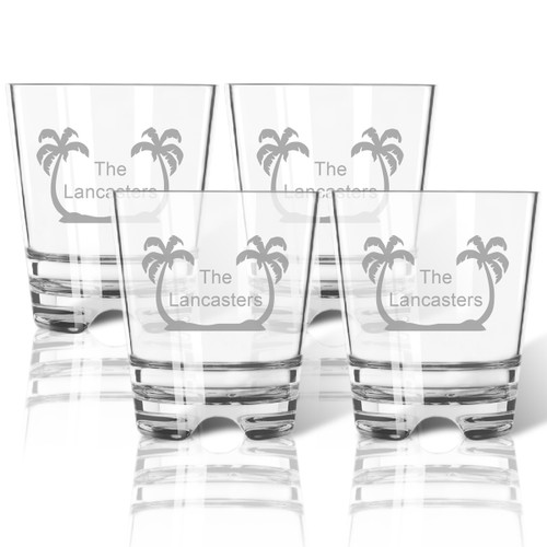 PERSONALIZED PALM TREES OLD FASHIONED - SET OF 4 (Tritan Unbreakable)