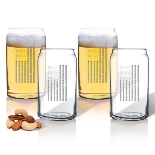 Vertical American Flag Set of 4 Beer Can glasses 16oz