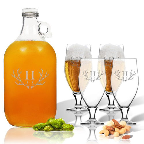5 Piece Set: Growler  64 oz.  & Cervoise Glass  16.75 oz. (Set of 4) Personalized Antler Theme