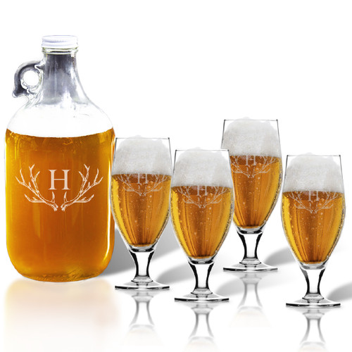 64oz GROWLER and CERVOISE PINT GLASS SET OF 4 GLASSES: PERSONALIZED ANTLER MOTIF