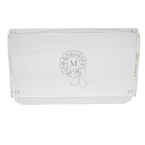 Personalized Acrylic Serving Tray - Wreath with Initial