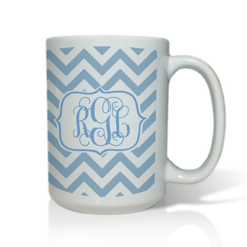Personalized White Mug  15 oz.Chevron Vine Monogram