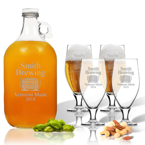 5 Piece Set: Growler  64 oz.  & Cervoise Glass  16.75 oz. (Set of 4) Personalized Brewing