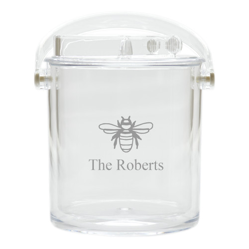 Personalized Insulated Ice Bucket with Tongs - Bee