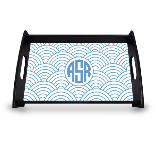 Personalized Serving Tray - Wild Blue Lupin Circle Monogram
