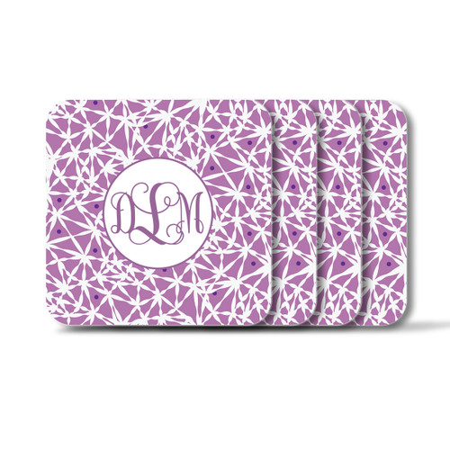 Personalized Square Coasters, Set of 4 - Lavender Vine Monogram